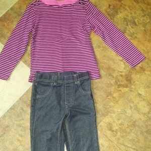 girl 4t Osh kosh top and jeggings